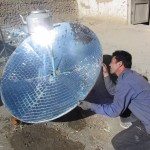 Hussain Dad putting the final touches to the Solar Water Heater